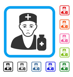 Apothecary doctor framed pitiful icon vector