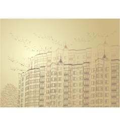 architectural sepia urban vector image