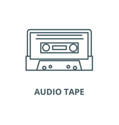 audio tape line icon audio tape outline vector image