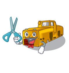 barber miniature locomotive mine in cartoon shape vector image