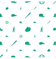 Baseball icons pattern seamless white background vector