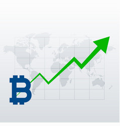 bitcoins upward trend growth chart vector image