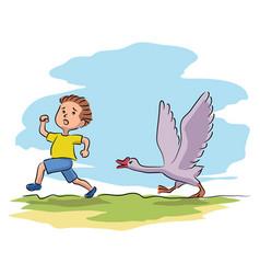 Boy running away from goose on village farmyard vector