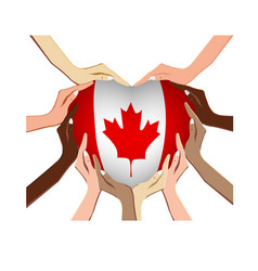 canada day with hands in the shape vector image