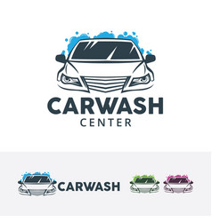 car wash center logo design vector image