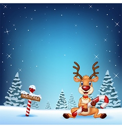Cartoon deer holding Christmas candy with winter b vector image