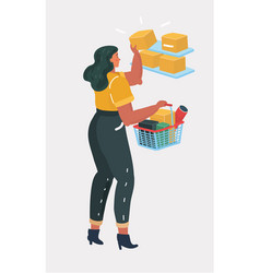 cartoon young woman shopping vector image