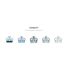 Chairlift icon in different style two colored vector
