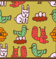 Childrens drawing forest animals seamless pattern vector