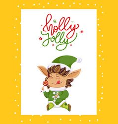 christmas greeting card with elf eating lollipop vector image