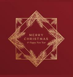 Christmas greetings golden glitter geometry frame vector