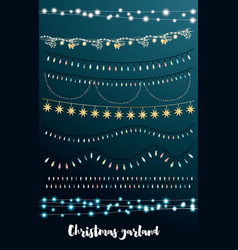 christmas string lights set new year neon garland vector image