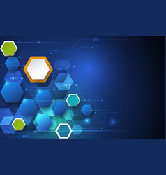 circuit board and 3d paper hexagons background vector image