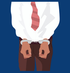 close up hands of man in handcuffs vector image