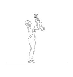 continuous one line father hold his little son on vector image