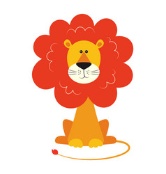 Cute funny lion isolated on white background vector