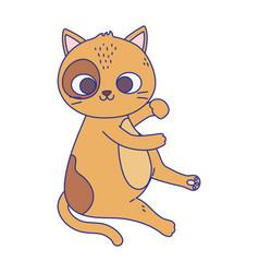 cute little cat with spots sitting feline cartoon vector image