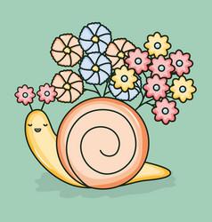 Cute little snail kawaii character vector