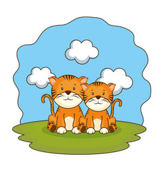 Cute tigers couple in the camp vector