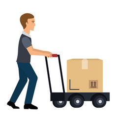 Delivery worker with cart avatar character vector
