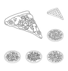 Different pizza outline icons in set collection vector
