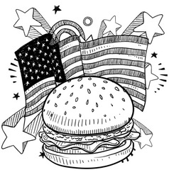 Doodle americana hamburger bw vector