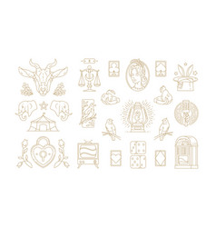 Esoteric and religious linear symbols set vector