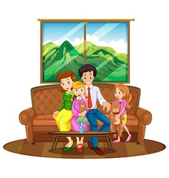 Family members sitting in living room vector