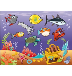 Family of funny fish under the sea vector image