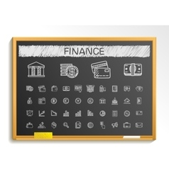 Finance hand drawing line icons chalk sketch sign vector