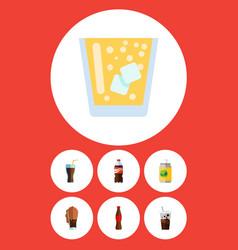 Flat icon drink set of beverage lemonade bottle vector