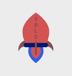 Flat icon of sale rocket vector