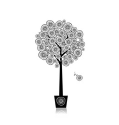 floral tree in pot for your design vector image