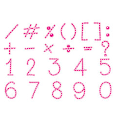 font design for numbers and signs in pink line vector image