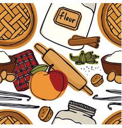 Fresh bakery apple pie vanilla seamless pattern vector