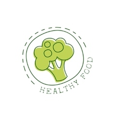 Fresh Vegan Food Promotional Sign With Broccoli In vector