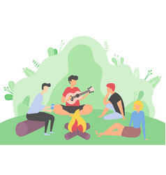 Friends gathered to go camping characters fire vector