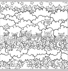 funny seamless pattern with cartoon owls sitting vector image