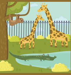 Funny sloth giraffe and crocodile characters in vector
