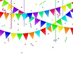 Garlands with flags streamers and confetti vector