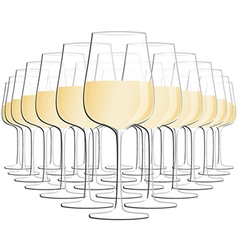 Glass of white wine isolated in white background vector