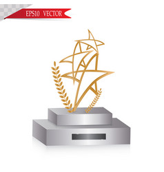 glass trophies engraved with crystal grunge vector image