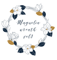 Graphic magnolia wreath in deep blue and bronze vector