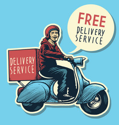 hand drawing of delivery service man riding a vector image