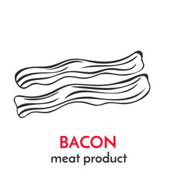 Hand drawn bacon icon vector