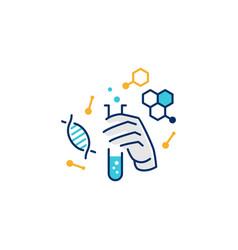 Hand hold laboratory glassware logo icon line vector