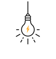 Hanging light bulb with flash icon vector