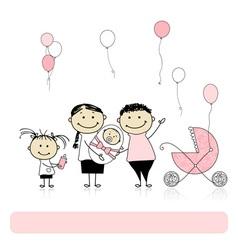 Happy birthday parents with children newborn baby vector image