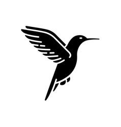 Hummingbird black glyph icon vector