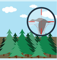 hunting in fir forest vector image